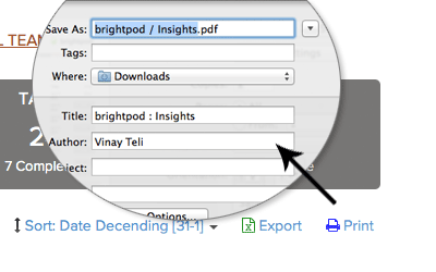 Exoprt insights & reports to PDF in Brightpod