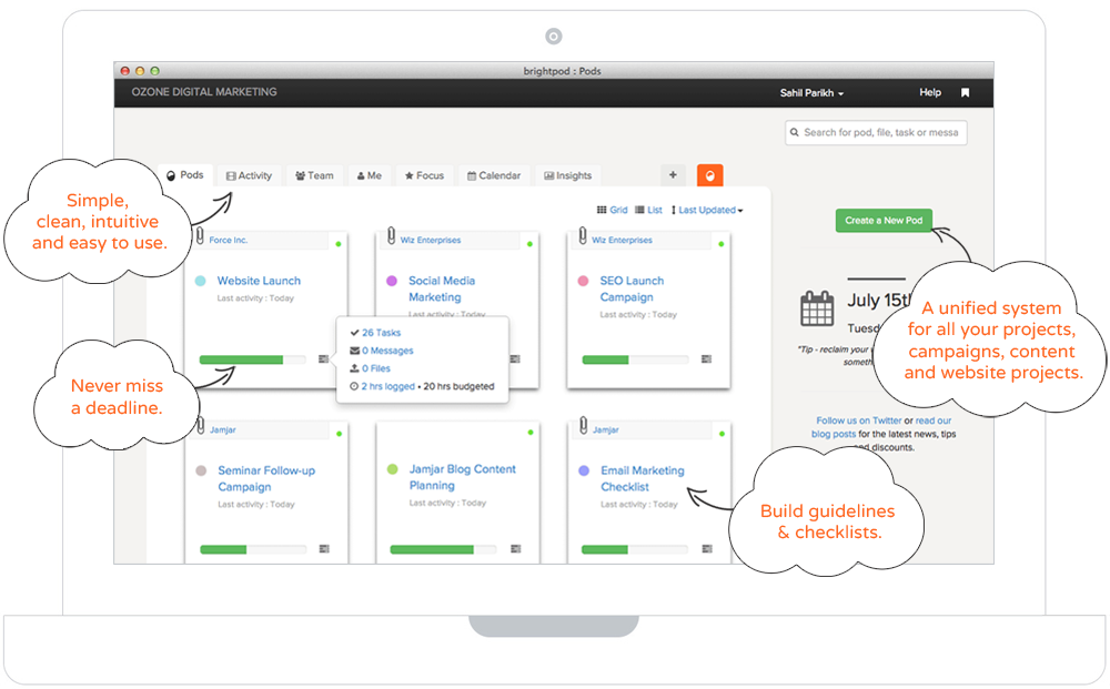 Project Management Dashboard Screenshot