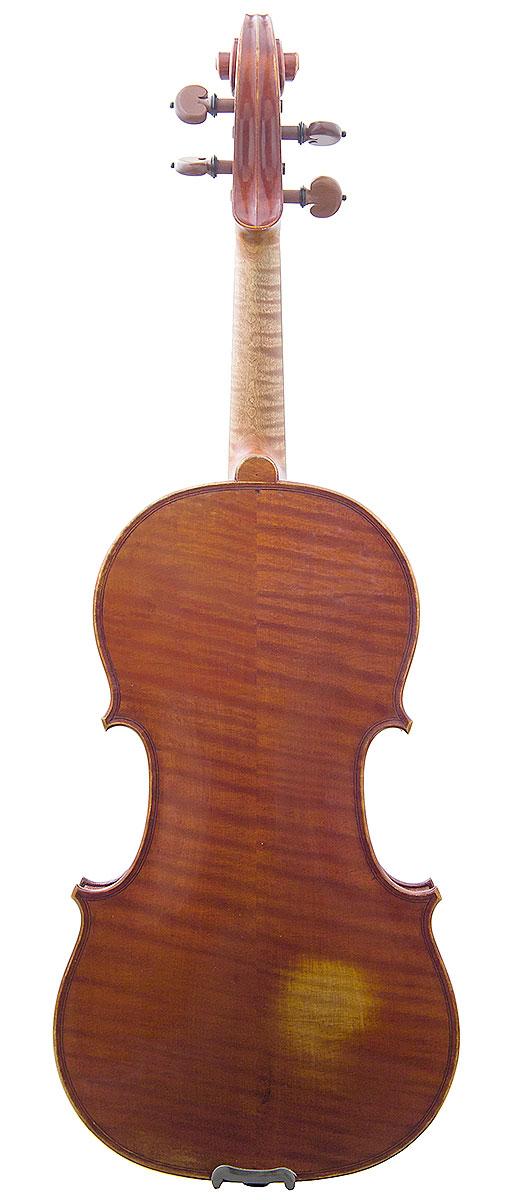 Back of David Folland's 2000 Stradivari model violin