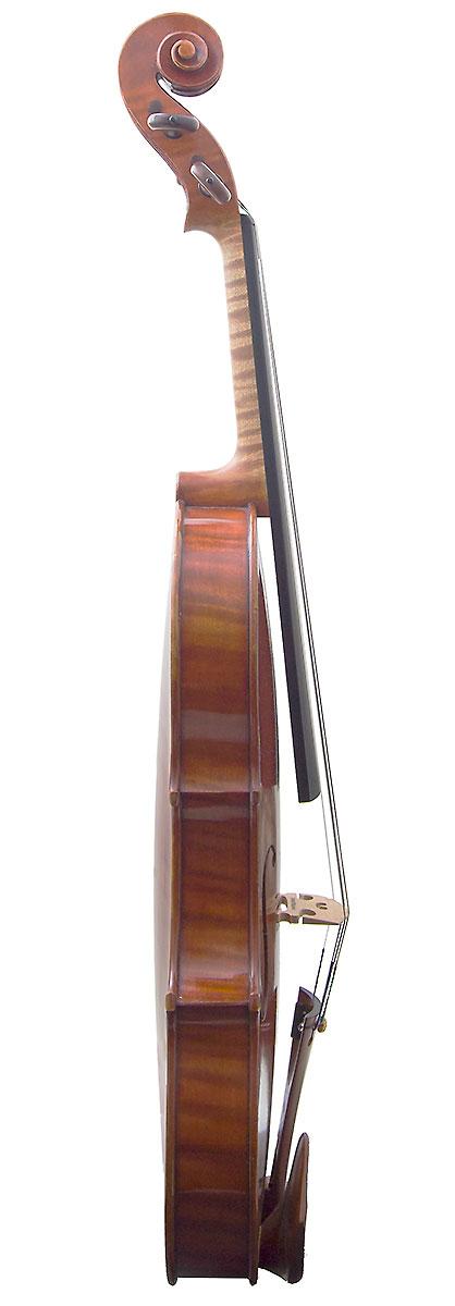 Side of David Folland's 2000 Stradivari model violin