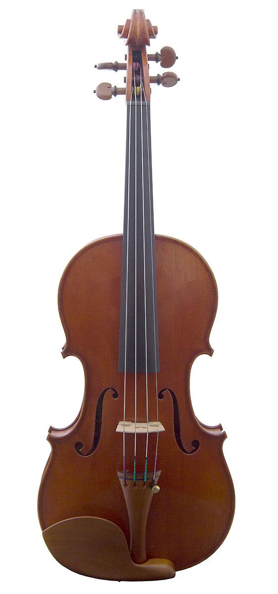 Front of David Folland's 2000 Stradivari model violin