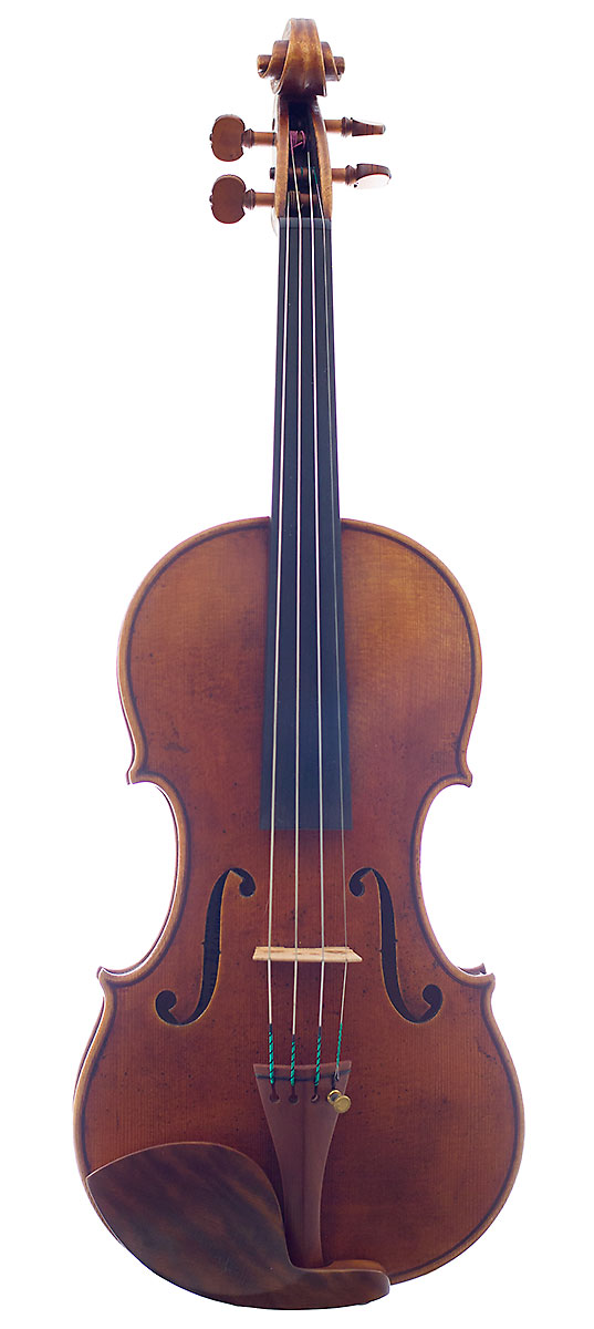Front of Dvis Gusset's 2009 Guarneri model violin