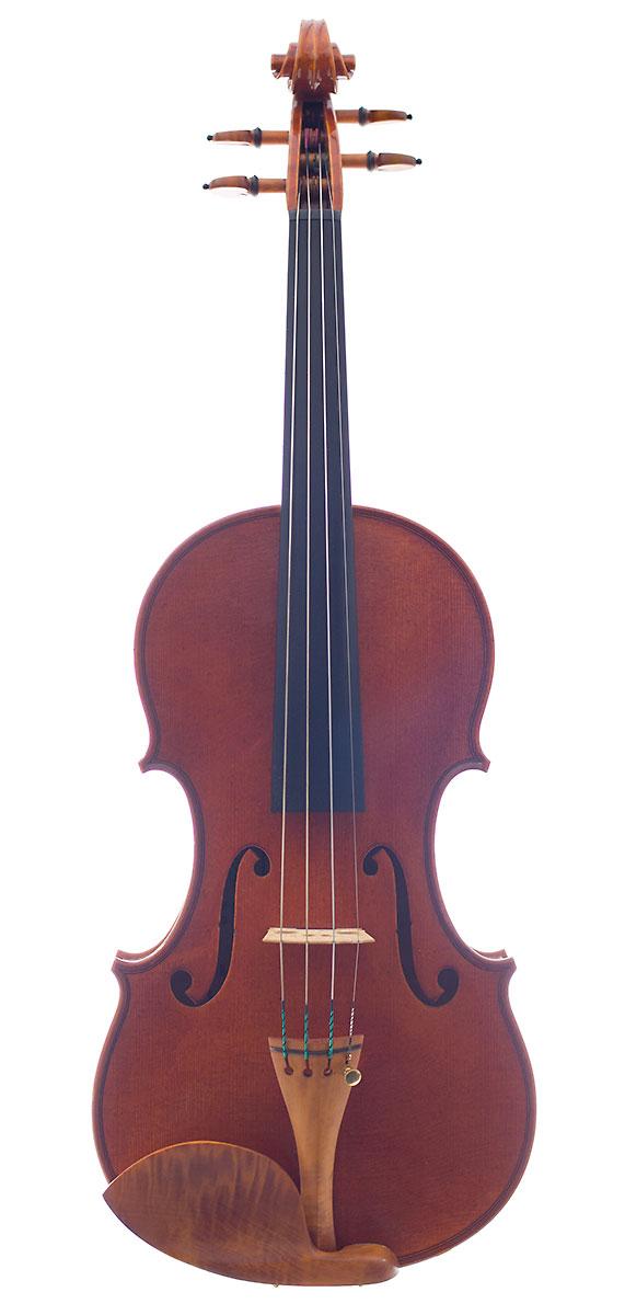 Front of Raymond Schryer's 2011 Stradivari model violin