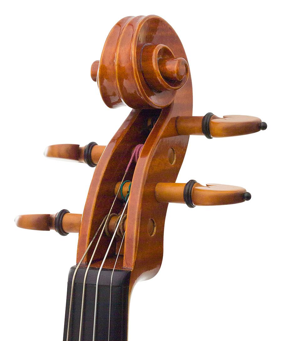 Scroll, Raymon Schryer's 2001 Stradivari model violin
