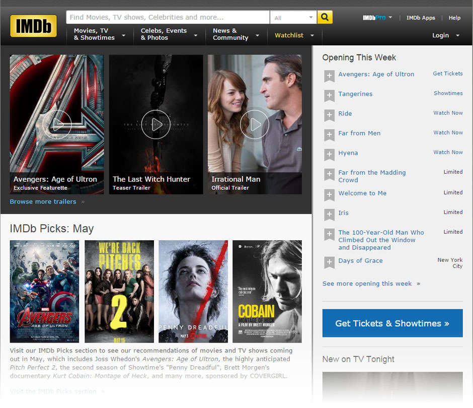Actual IMDB.com home page