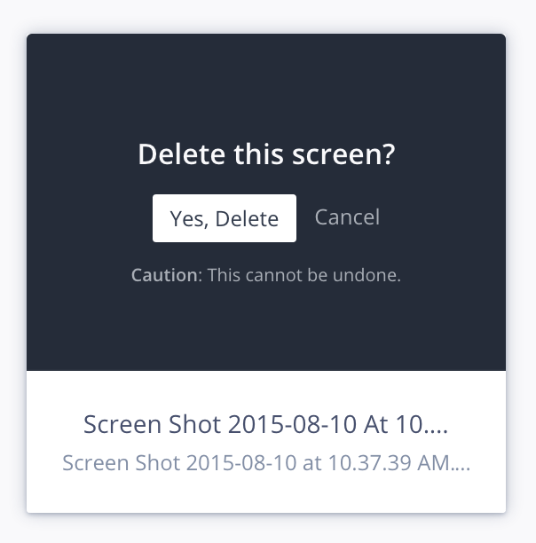 InVision asks for confirmation before you delete a screen