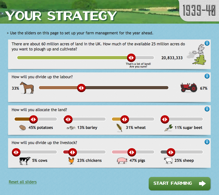 Image of farm management screen showing sliders to determine farming strategy.