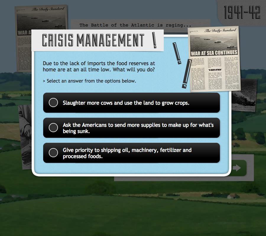 Crisis management decision point question.