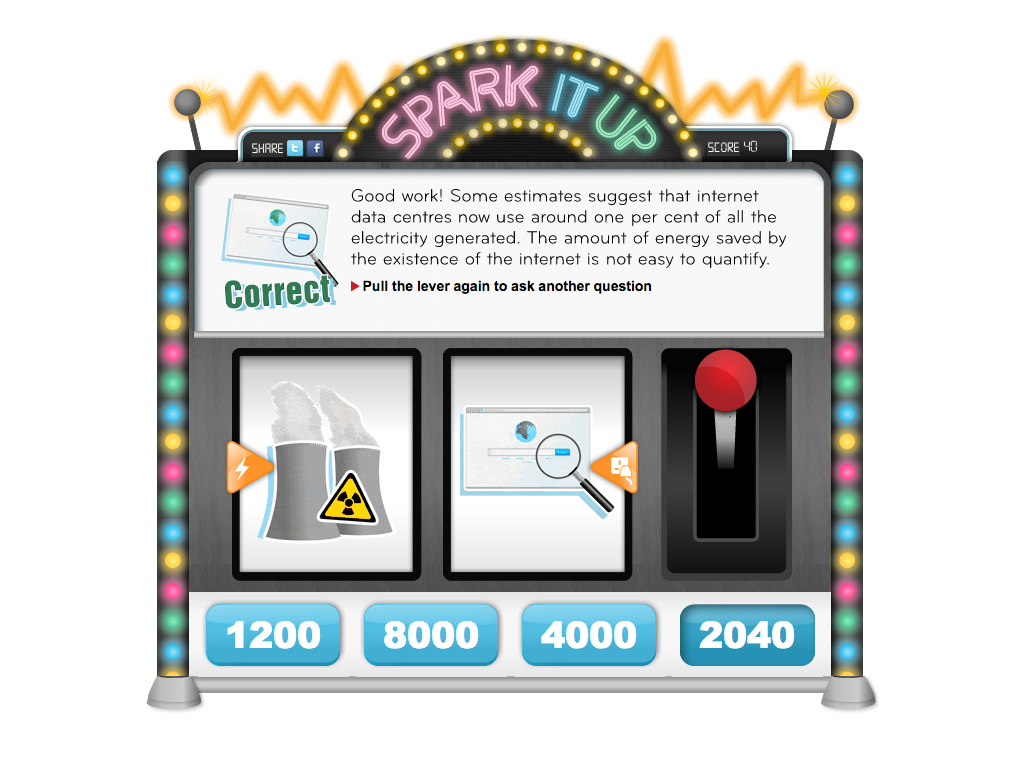 A feedback screen with a correctly answered questions and the machine with brightly coloured lights