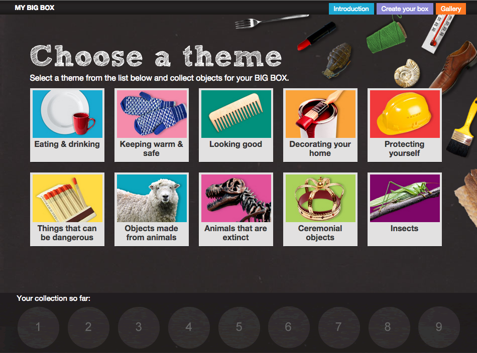 A screen showing the ten different themes from the museums collection to browse