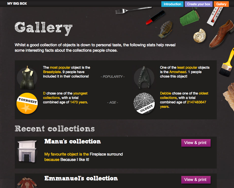 The gallery page showing a selection of learner collections