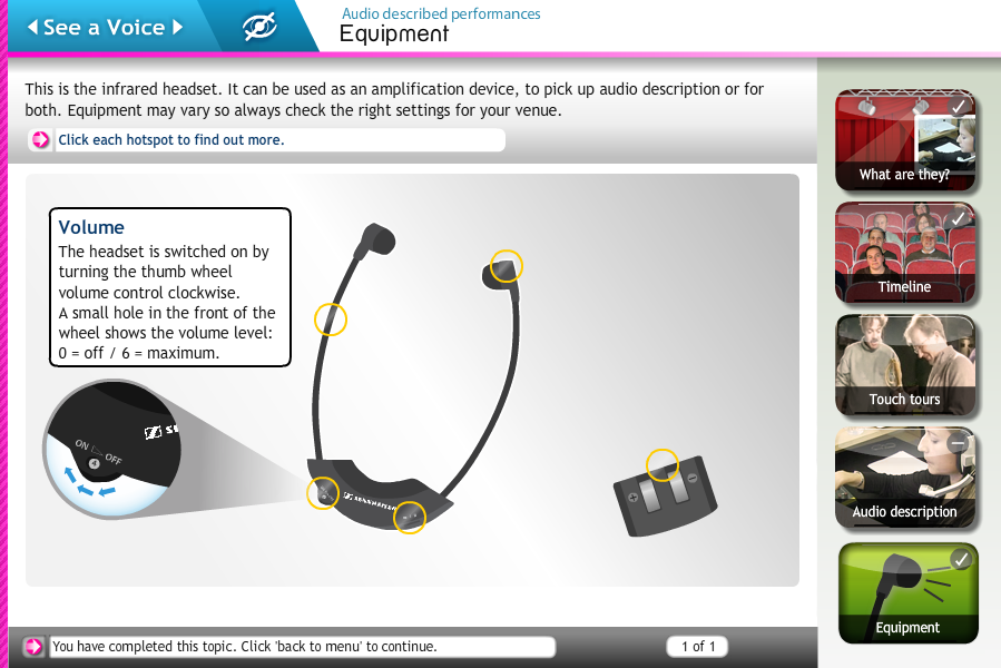 An illustrated click to reveal screen showing how to use an infrared headset