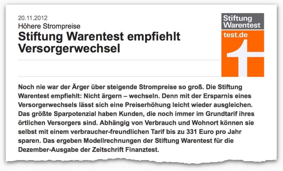 Stiftung Warentest empfiehlt Stromanbieter Wechsel