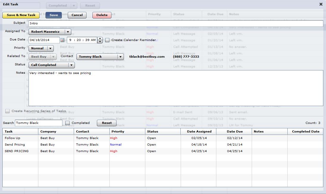 Manage CRM Tasks