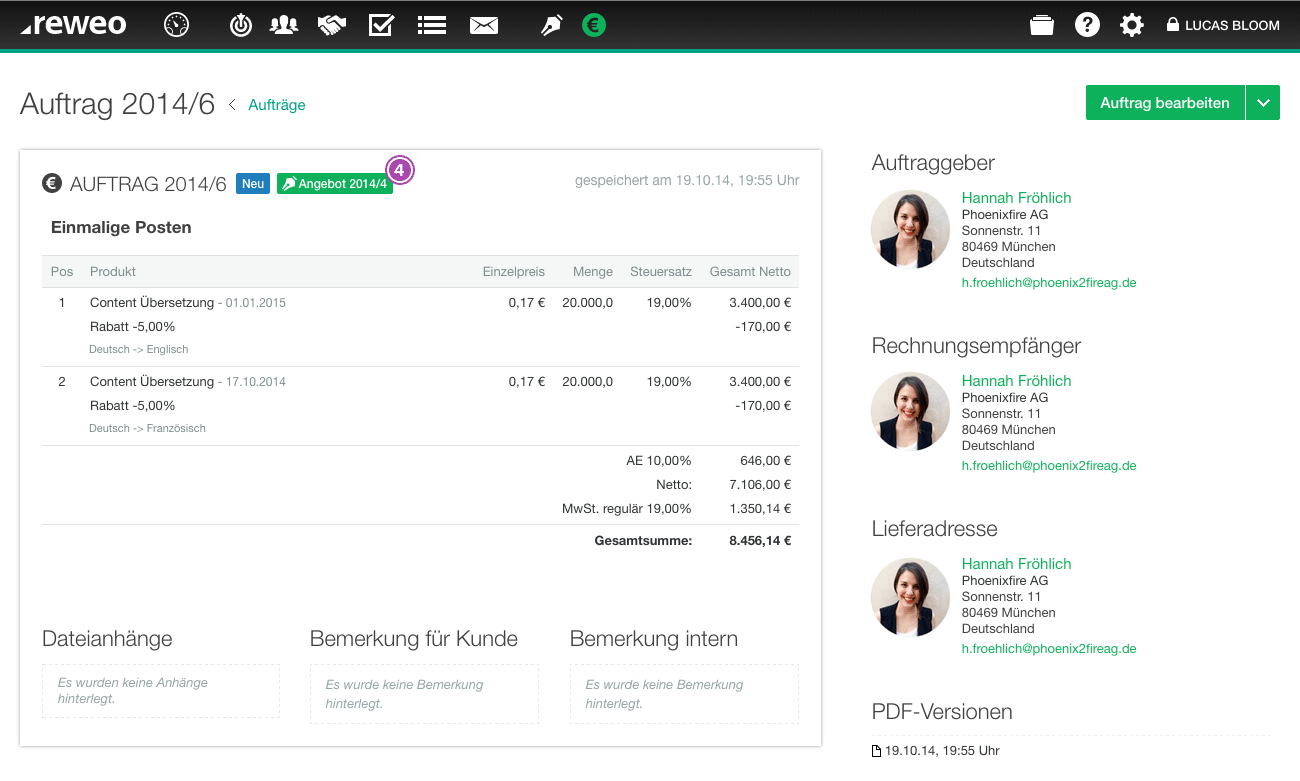 Auftrag Angebotsverknüpfung