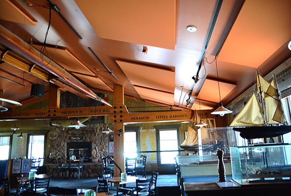 acoustic panels on the ceiling at Jakes restaurant