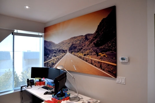 acoustic panel installed in office with printed fabric