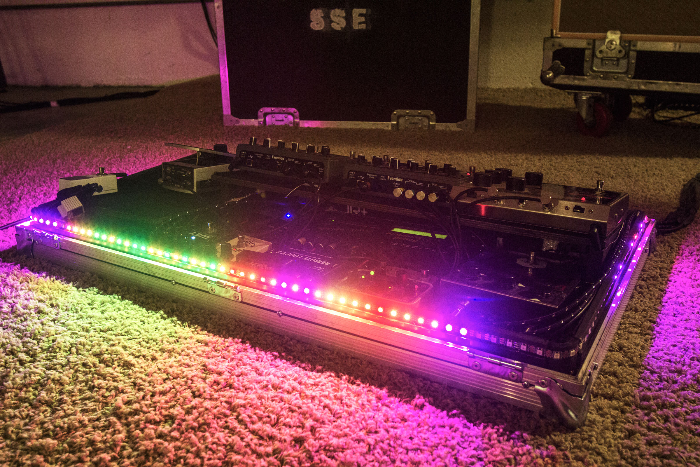 AudioLux Sound-Reactive LED Light System installed in a pedalboard