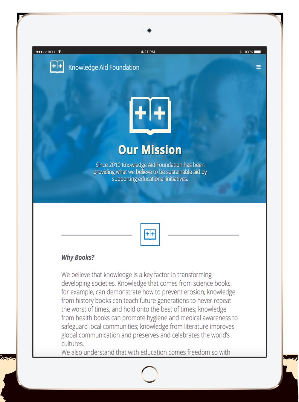 photo of tablet designed website