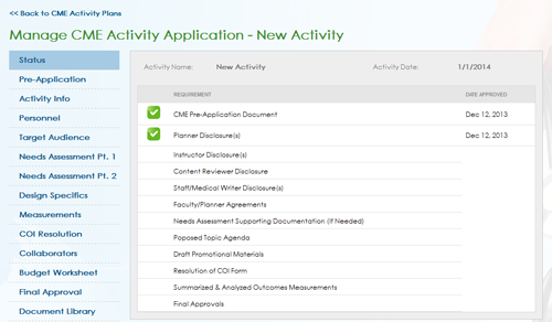 MMP CME Activity Manager Screen Shot