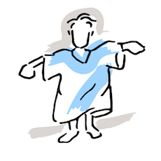 image of person in an oversized top