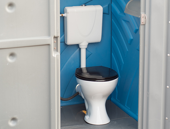 Fully mains connected flushing toilet hire