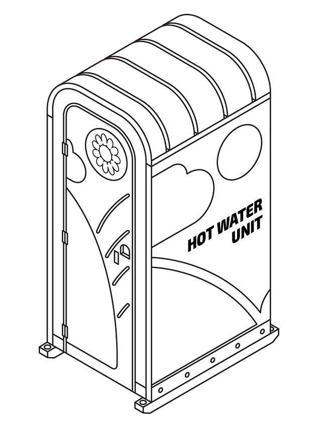 Hot Water toilet for hire on your site