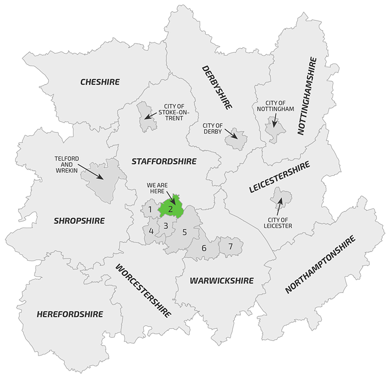 Midlands map showing D-tox business coverage