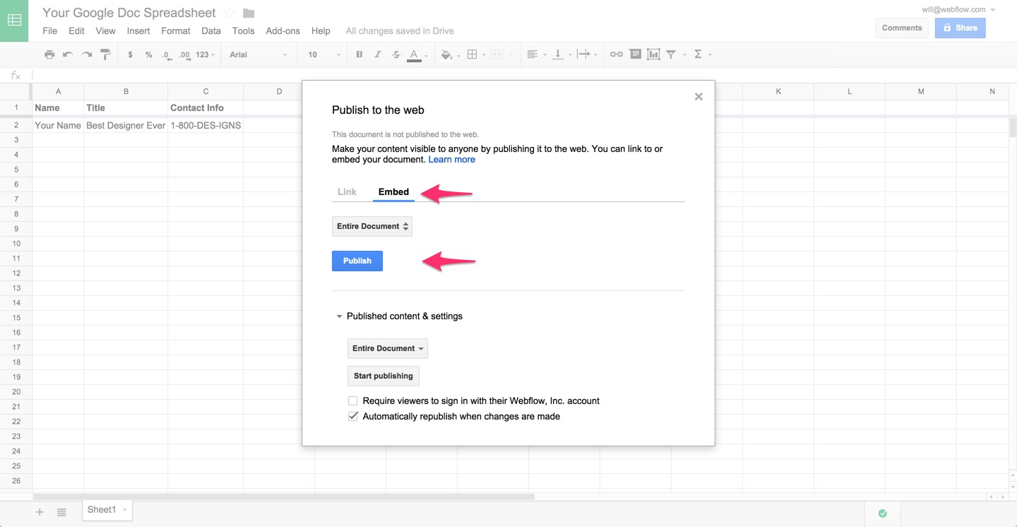 Embedding google docs and sheets webflow university for Embed a forum into your website