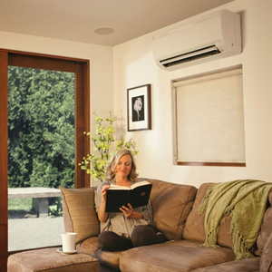 ductless heat pump in living room