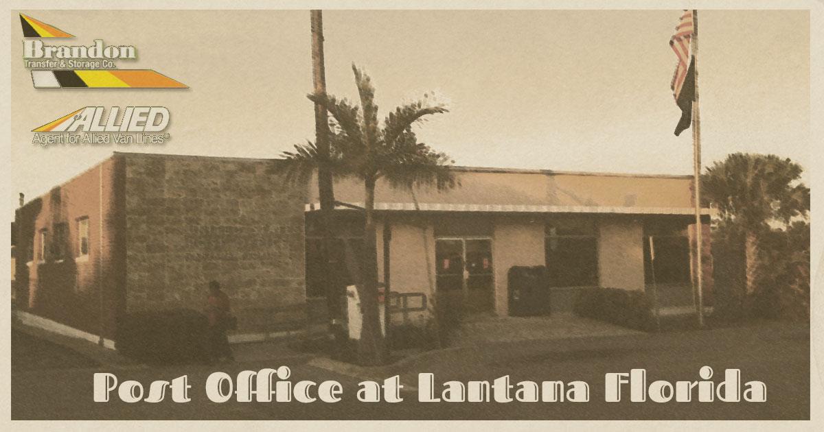 post office at Lantana FL vintage postcard from Allied Van Lines