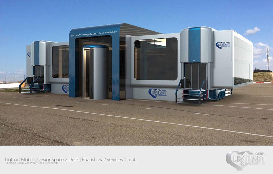 Promotion-Auflieger und Roadshows durch Ligthart Mobile - DesignSpace 2Deck roadshow