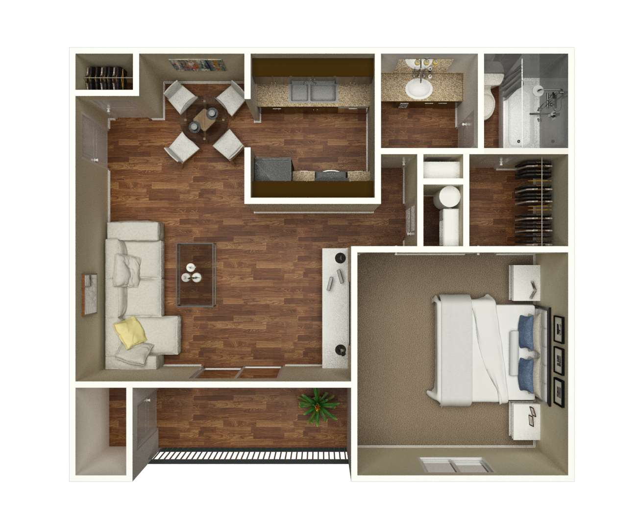 Single bedroom top view - One Bedroom One Bathroom 730 Square Feet Starting At 805