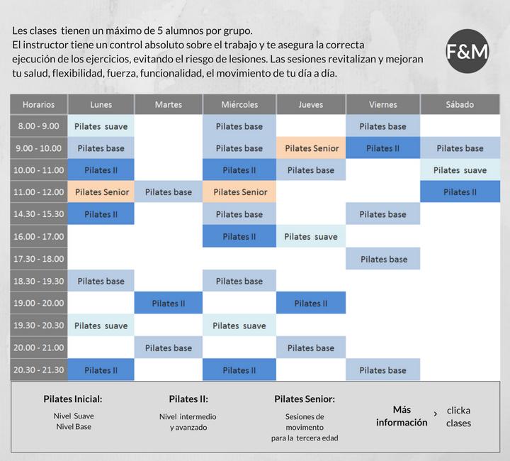 Horaris de Pilates i Entrenament Funcional Personal i Grupal a Barcelona
