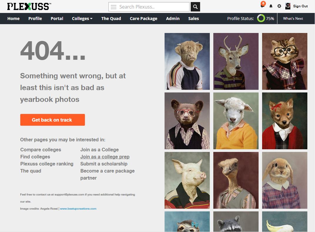 plexuss 404 page