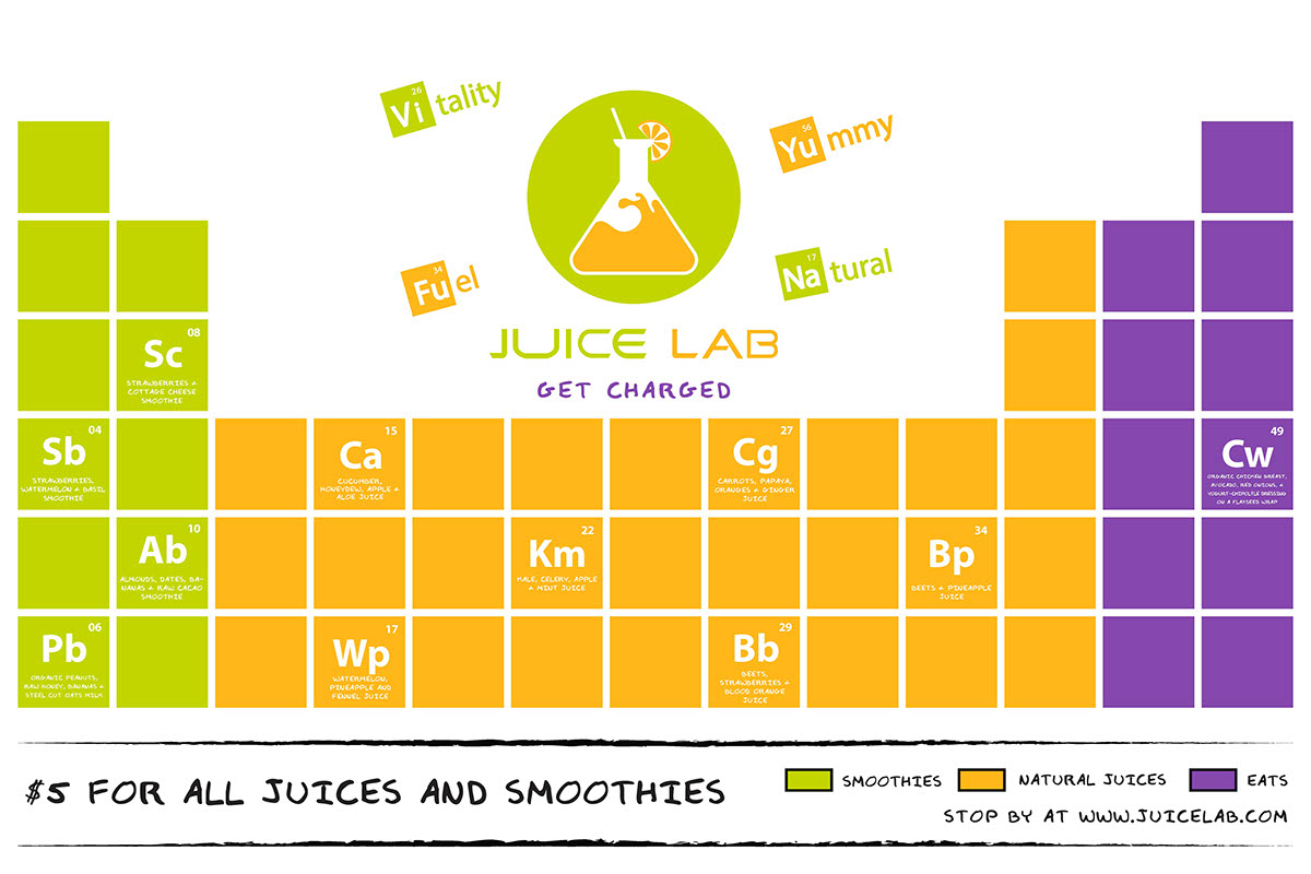 juice lab menu design