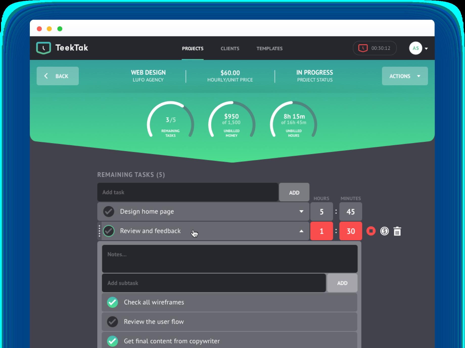 Photo of TeekTak main screen interface