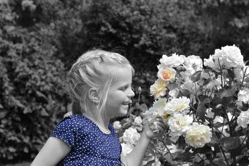 Kinderportrait Kind mit Blumen