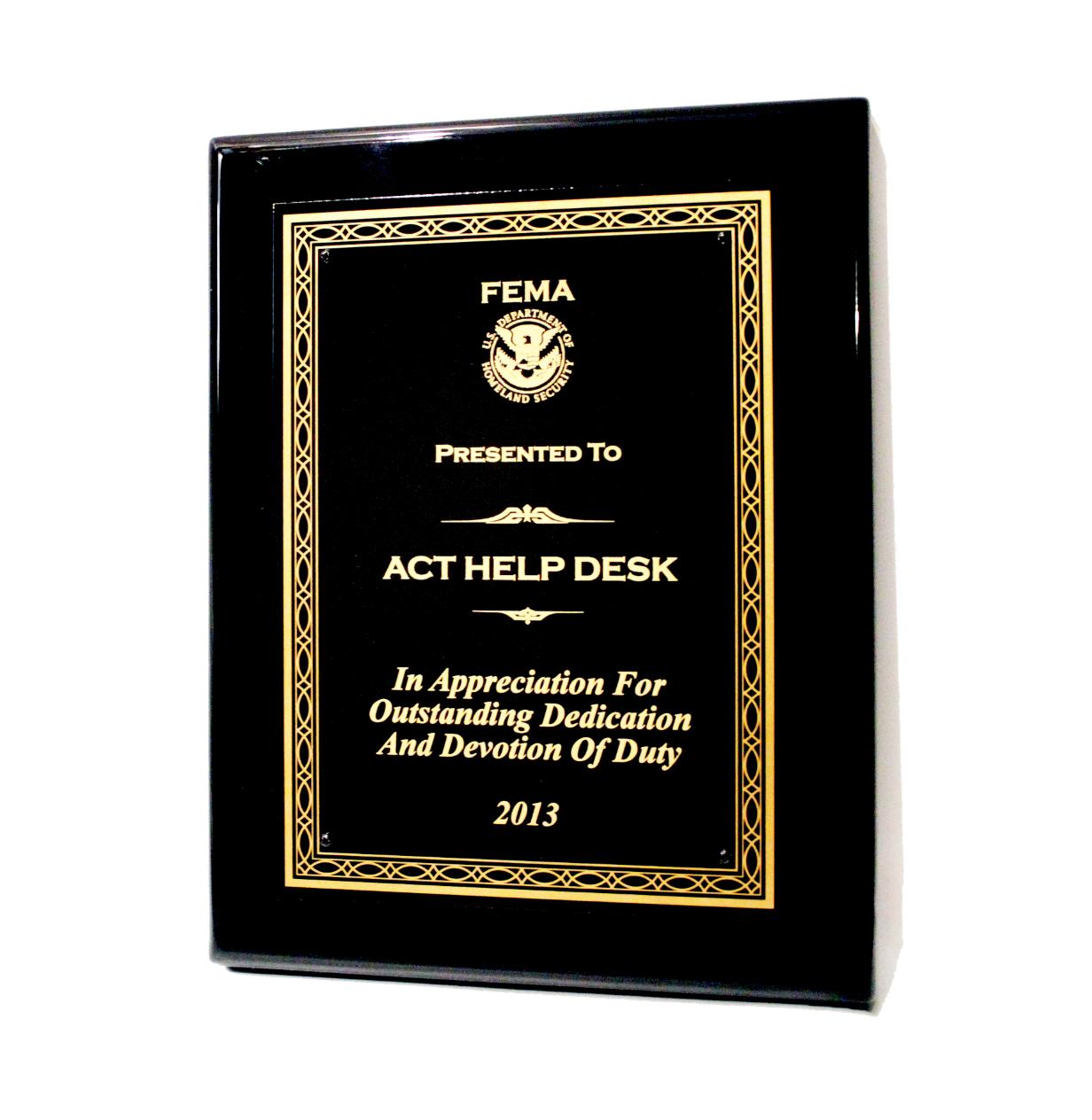 ACT   2013 FEMA Help Desk Award Winner
