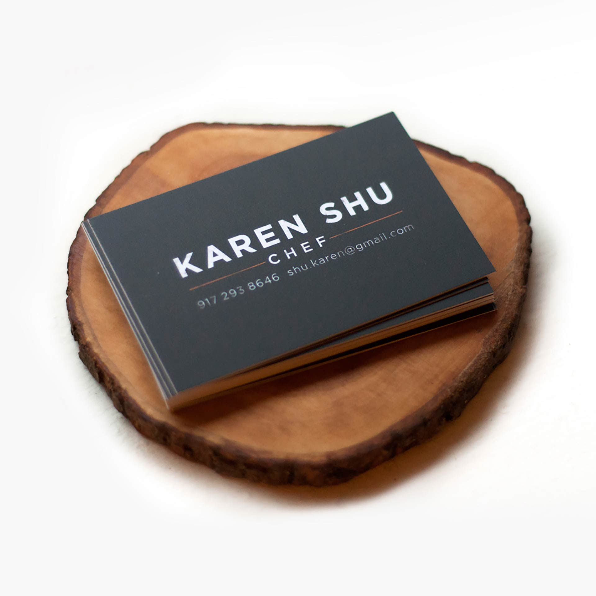 Business card design for Chef Karen Shu of NYC