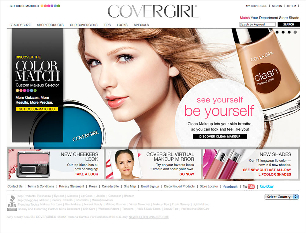Homepage for Covergirl