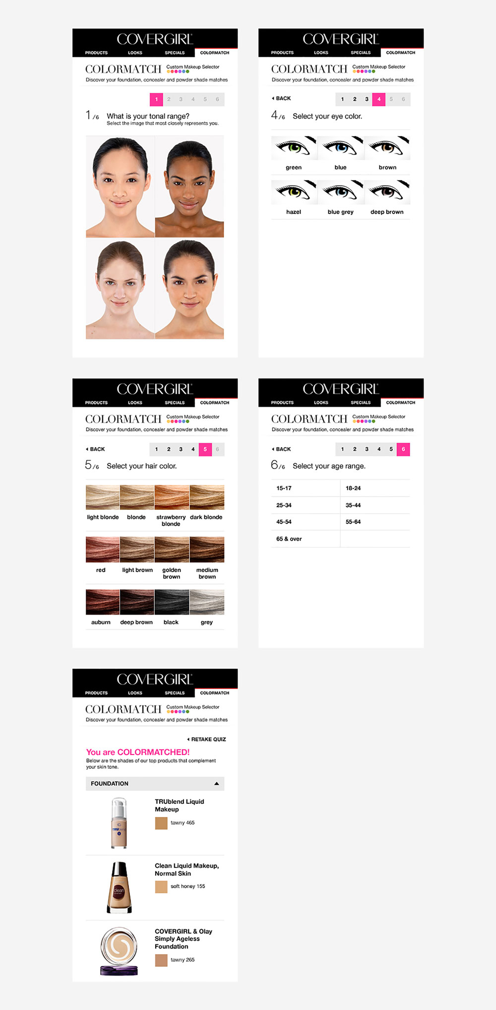 Covergirl: Colormatch on mobile