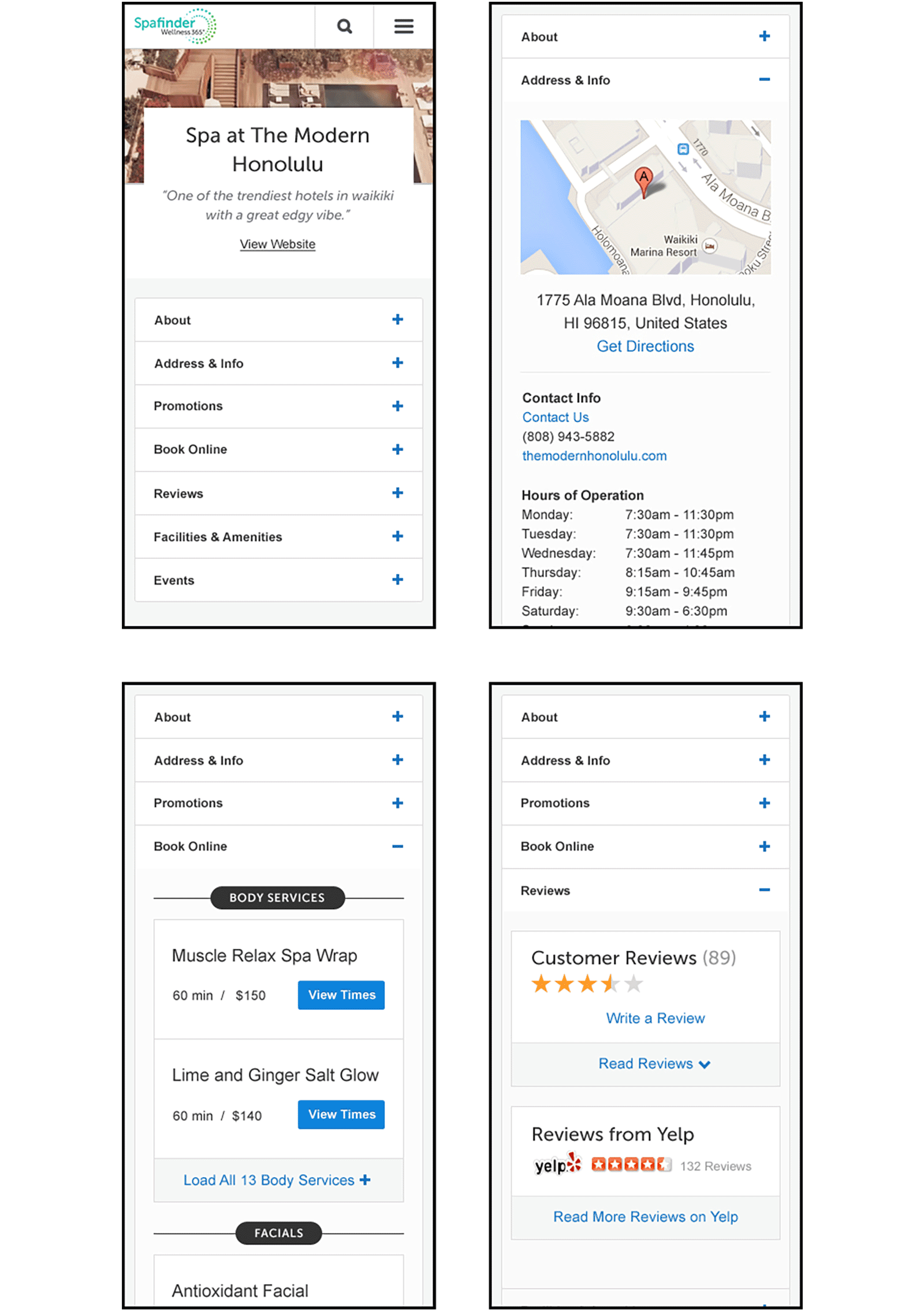 SpaFinder: travel property profile mobile view