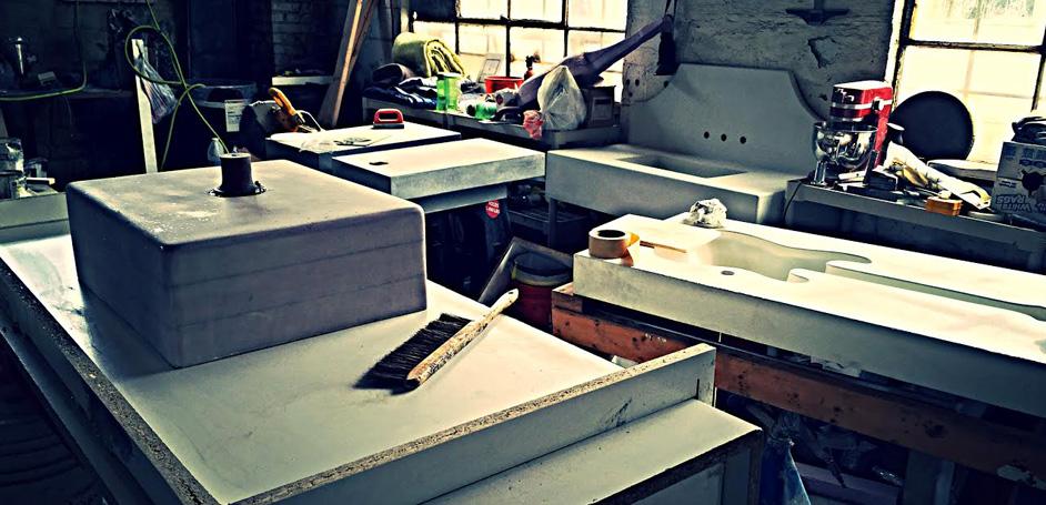 Santana Matlock's studio for making custom Nashville, TN concrete products
