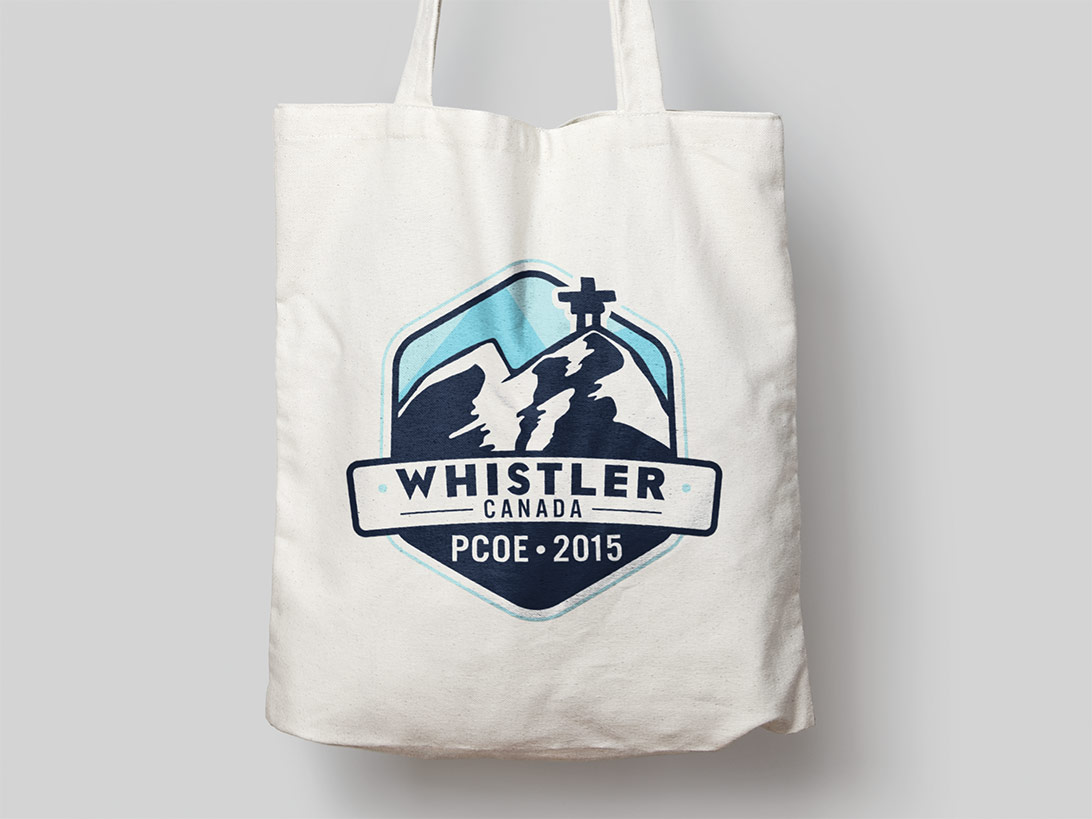 Whistler Canada PCOE 2015 logo screenprinted on a tote bag
