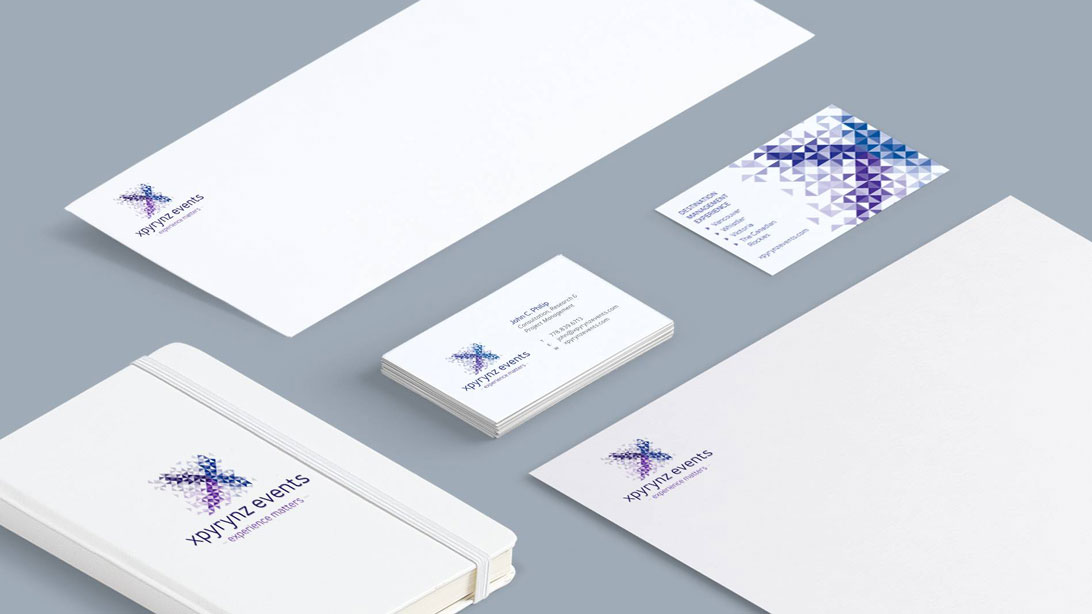 xpyrynz events stationery design including business cards, letterhead, envelope and notebook