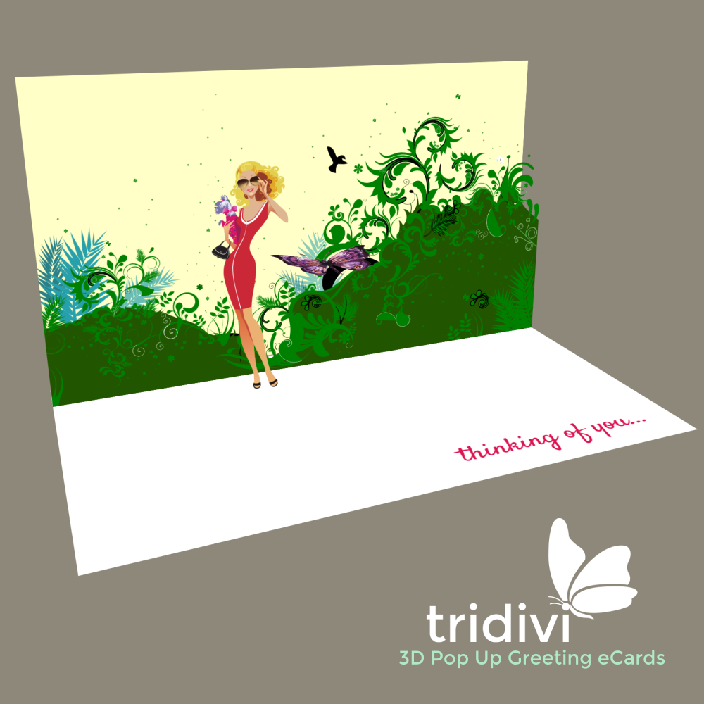 Girl 3d Pop Up cards and ecards