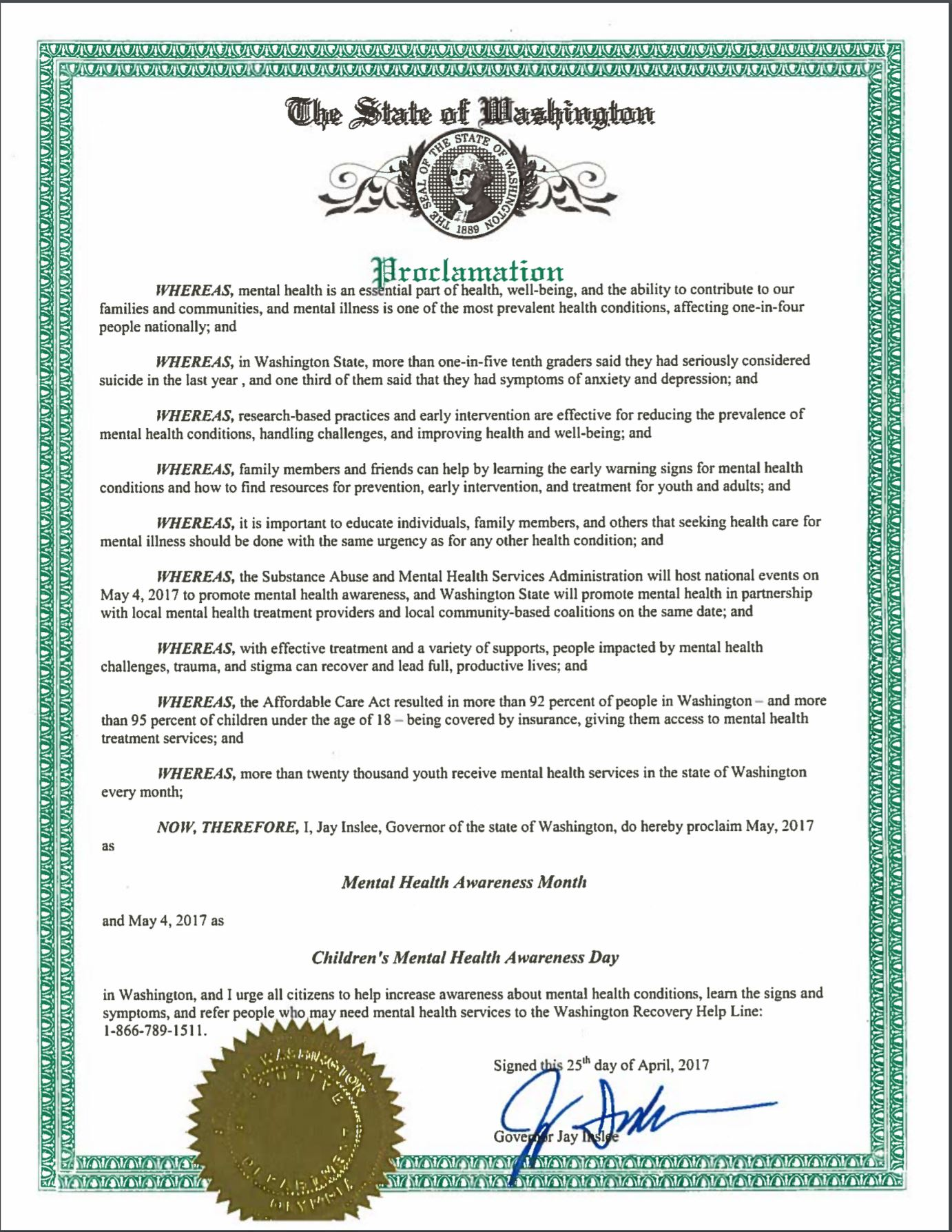 Wa governor jay inslee declares may 4th mental health awareness day 1betcityfo Image collections