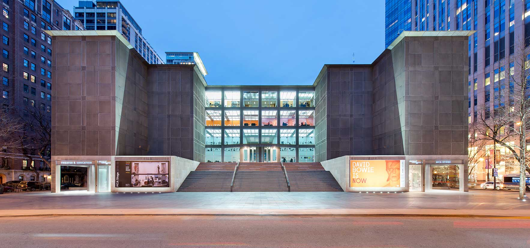 Photograph of MCA: Museum of Contemporary Art, Chicago at dusk.