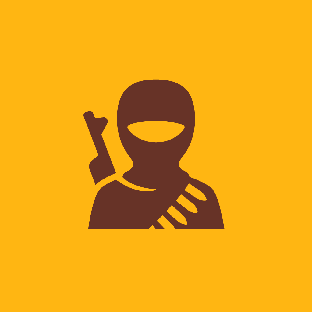 Terrorist icon by #dutchicon for the Dutch Government (Rijksoverheid).